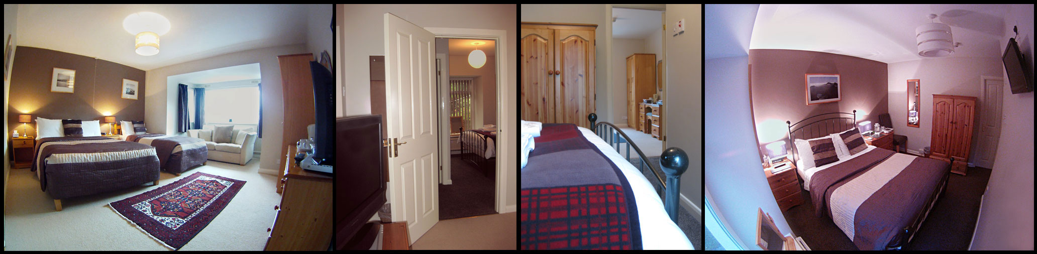 Four images showing how rooms 5 and 6 open up to make a great family suite that sleeps five people.