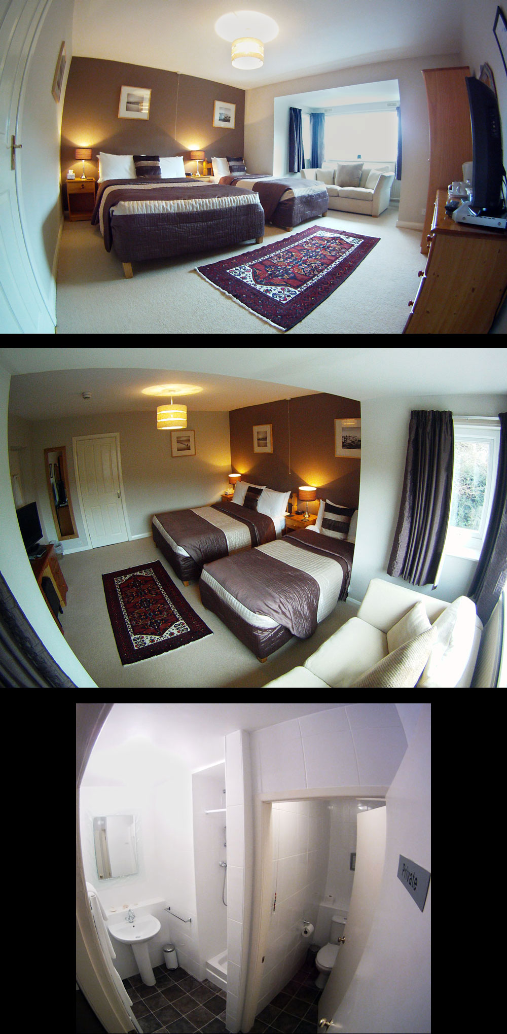 Room 6, Crib Yr Ddysgl, family room, sleeps 3 with double bed and single bed, private bathroom