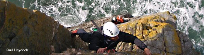 Climbing the cliffs on Anglesey