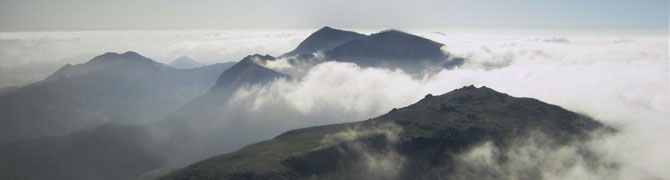 An aerial view of the Snowdon peaks